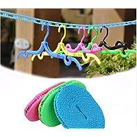 mciskin 10Pcs Portable Folding Clothes Hangers With 3M Portable Windproof Clothesline for Travel(Random Color)