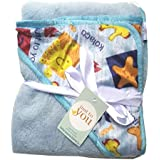 N&M Double Layer Velvet Fleece Newborn Printed Baby Blanket With Hood (Blue Kolaco)