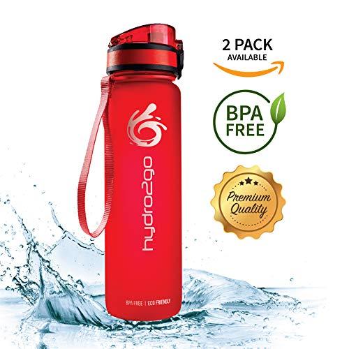 hydro2go ® Sport Trinkflaschen - aus Tritan 1000ml / 1liter - BPA frei und 100{f37daa04097dad95e962b2b2f6d564483f052b1d9cd2655093ef4d8073ea53d2} auslaufsicher | Premium Sportflasche - für Sport, Schule, Reisen, Outdoor und Freizeit (Lava Red, 1000 ml)