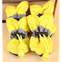 Doggie Style Store Yellow Waterproof Dog Puppy Pet Rain Snow Boots (Pack of 4) Reflective Non Slip Booties Socks Shoes