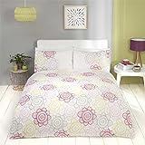 Floral Sonnenblume Streifen Baumwolle-Mischgewebe Rosa King Size (Uni weiß Spannbetttuch–152x 200cm + 25) 4-teiliges Bettwäsche-Set