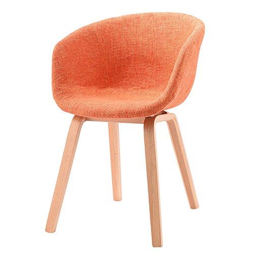 Stuhl, Home Natural Linen Antistatischer hypoallergener Sessel Loungesessel Talk Chair Coffee Chair Dining Chair (Farbe : Orange, Size : 44 * 43 * 75cm) -