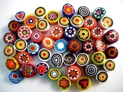 25g Mixed Medium Millefiori 7 to 8mm. Approx 65 pieces