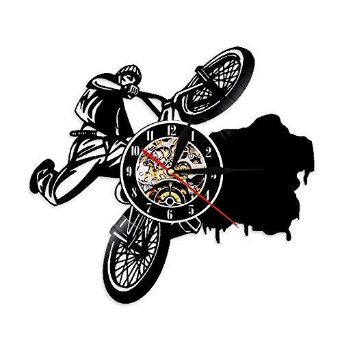 QWDQWE 1 Piece Riding Bikes BMX Sports Uhren Dirt Bike Track Racks Vinyl Record Wall Clock Fahrrad Wandkunstdekor für Wohnzimmer