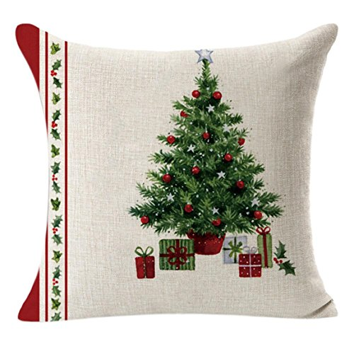 Taie d'oreiller de Noël,Bellelove Taie d'oreiller en lin carré lin lin coussin décoratif cadeau chaussettes / arbre de noël nouveau et de haute qualité belle taie d'oreiller 45 cm * 45 cm (A)