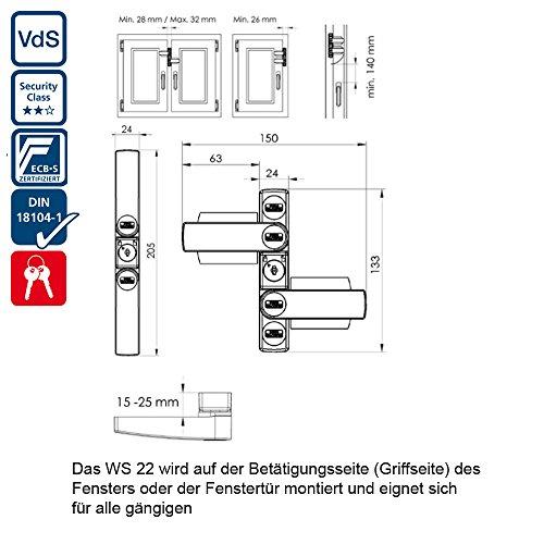 BURG-WÄCHTER Fenstersicherung mit 2 Schwenkriegeln, Für einflügelige und zweiflügelige Fenster aus Holz oder Aluminium, 2 Schlüssel, WinSafe WS 22 W SB - 5
