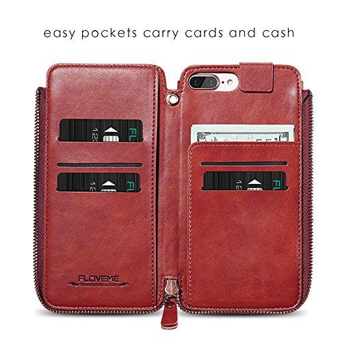 Apple iphone 7 Plus Hülle,Feitenn Reißverschluss Wallet Case Kreditkarte Slots Geldfach Kartenfach Spiegel Ledertasche Abnehmbar Magnetic Schutzhülle PU Leder Case für iphone 7 Plus - Rosarot Rot