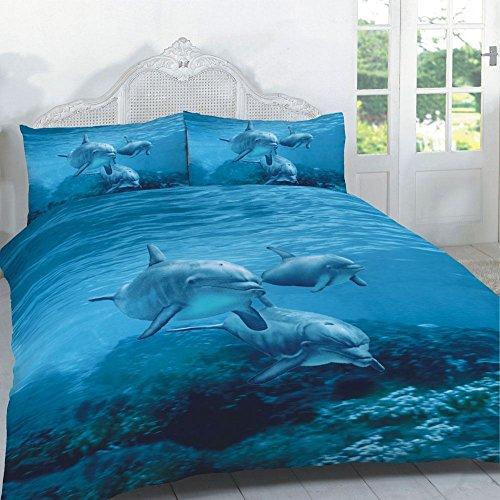 GC-Bettbezug-Sets mit 3D-Tiermuster-Drucken, Betten-/Kissenbezug in Kingsize, Doppel- oder Einzelbettgröße., 3d Duvet Dolphins Nz, King Size