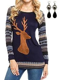 sitengle Damen Langarmshirt Deer Rentier Printed Beiläufige Bluse T-Shirt  Top Oberteile ba67ca27f5