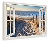 PICSonPAPER Leinwandbild Fensterblick zum Nordsee-Strand, 70 cm x 50 cm, Dekoration, Kunstdruck, Wandbild, Geschenk, Leinwand Natur