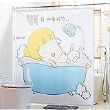 GLJY Thicken Polyester Shower Curtain Waterproof Mildew Bathroom Curtain Curtain with Metal Hook,A_180cm(H) x200cm(W)