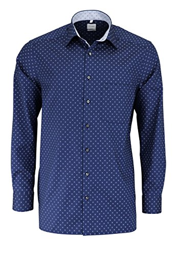 OLYMP Luxor Comfort Fit Hemd Langarm Muster Dunkelblau Dunkelblau