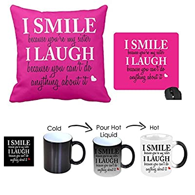 Giftsmate Birthday Gifts for Sister Combo, Funny Teasing Magic Mug for Sister, Coaster