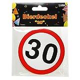 Bierdeckel 10er Packung - DEKO zum 30. Geburtstag - Pappkarton Untersetzer bedruckt mit Verkehrsschild Zahl 30