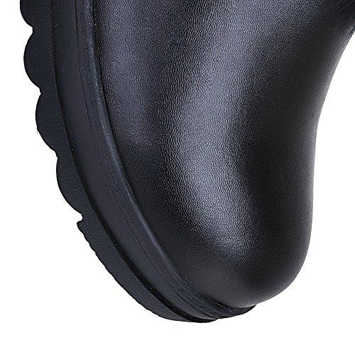 VogueZone009 Femme Rond Mosaïque Haut Demi à Talon Haut Bottes Noir