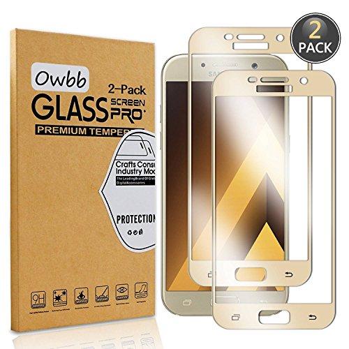 Owbb [2 Pièces] Film Protecteur D'écran en Verre Trempé pour Samsung Galaxy A5 (2017 Version, 5.2 Pouce) Gold Couverture Complète Protection 99% Haute Transparent Anti-déflagrant