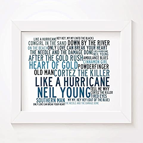 `Crystalline` Art Print - NEIL YOUNG - Signed & Numbered Limited Edition Typography Unframed 25 x 20 cm (10 x 8 inch) Singles Wall Art Print - Song Lyrics Mini Poster