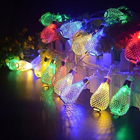 Turnraise Guirlandes LED Lanterne Or/Argent Ajourés Teardrop Pendentif Noël Light Bar
