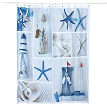 Cadillaps 3D Mittelmeer Duschvorhang Badewannenvorhang 150/180x180cm Badezimmer  Vorhang
