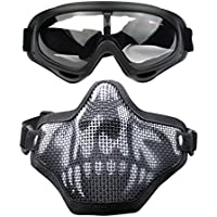 RUNACC Adjustable Airsoft Face Mask and Goggles Set Protective Tactical Outdoor Half Face Mesh Mask and Goggles Set for Hunting, Paintball and Shooting