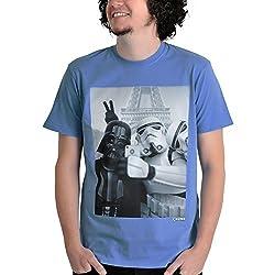 Star Wars Empire Selfie T-Shirt Stormtrooper und Darth Vader Chunk Markenware hochwertig blau - M