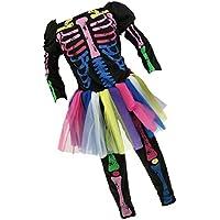 Sharplace 3 Piezas/Set Vestido Esquelético de Niñas +Manga Larga +Pantalones Accesorio de Fiesta de Cosplay Regalos para Día de Niños - M