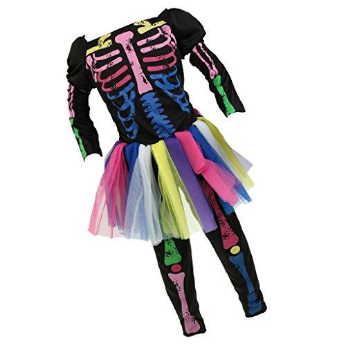 Gazechimp Kinder Skelett Kostüm Tutu Kleid für Mädchen - Mehrfarbig, L