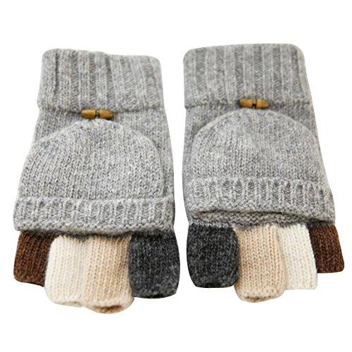 LvLoFit 100% Wolle Strick Handschuhe Fingerlos mit Fingerschutz Warme Gestrickt Halbe Winter Gloves für Damen Herren (Grau)