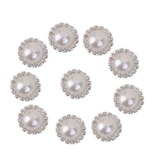 10pcs Bottoni Di Cristallo Finta Perla Di Tibia Artigianali Decorazione Fai Da Te 21 Millimetri Bianco