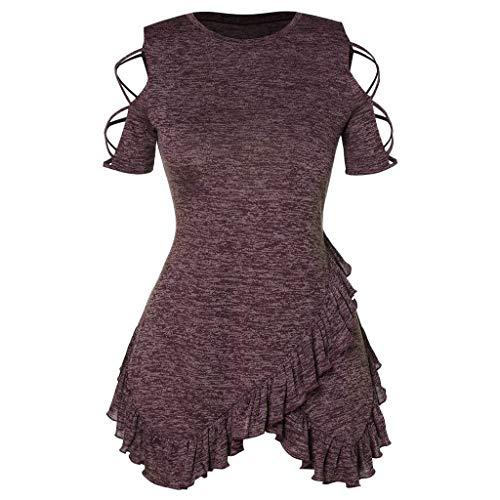 Qmber Frühling Sommer Grace Damen Mädchen Frauen Offene Schulter Plus Size Casual Täglichen Party T-Shirt Tops Bluse Off-The-Shoulder-Träger mit gekräuseltem Oberteil/Wine,XL (Schuhe Kinder Sparkly Red)