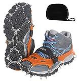 Unigear Crampones Ligero de Nieve Hielo 18 Puntas Dientes De Acero Zapatos Antideslizante para Cámping Alpinismo Acampada Senderismo Marcha Invierno