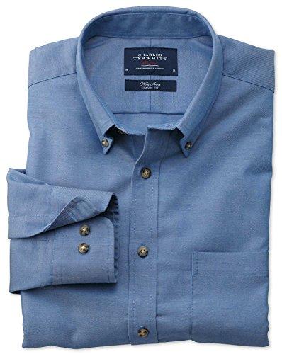 Bügelfreies Classic Fit Hemd aus Twill in blau blau (Knopfmanschetten Cuff)