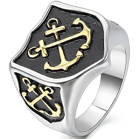 Jewelrywe Gioielli Anello da Uomo, Anelli, Retro Croce Anchor, Ancoraggio Scudo, Acciaio Inossidabile, Oro Nero Argento (con Borsa Regalo)