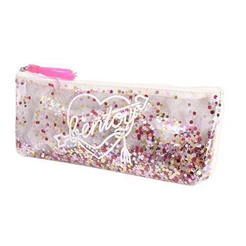 Bolsa de maquillaje transparente con lentejuelas de sirena y purpurina, bolsa de borla brillante para cosméticos y artículos de papelería con cremallera, bolso de mano brillante, estuche para lápices estilo japonés Harajuku, blanco