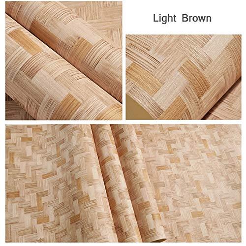YACAS Chinesischen Stil Stroh-Wie Bambus Textur Tapete Wohnzimmer Schlafzimmer Hintergrund 3D PVC Wasserdicht Vinyl Tapetenrolle 5,3M2 Hellbraun