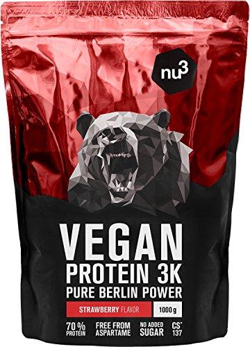 nu3 Vegan Protein 3K Shake | 1 Kg Erdbeere Blend | veganes Proteinpulver aus 3-Komponenten-Protein mit 70% Eiweiß | Pulver mit leckererm Strawberry Geschmack | Laktosefrei