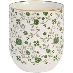 6CEMU0001 taza sin asa diseño de flores verdes 6,5 x 8 cm de diámetro