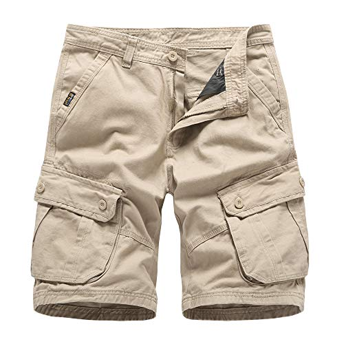 Bmeig pantaloncini cargo da uomo cotone casual summer multi pocket perdere peso pantaloni da lavoro all'aperto da combattimento regolare dell'esercito cachi nero