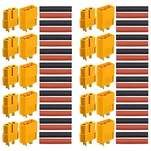 FULARR® 10 Paar Premium XT60 Batterie Anschlüsse, Hochstrom Männlich Weiblich Goldstecker Goldkontaktstecker Rundstecker Stecker Buchse mit Schrumpfschlauch, für RC Lipo Akku【EINWEG】 -