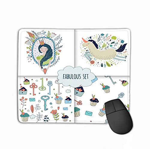 Gaming Mouse Pad Oblong Shaped Mouse Mat 11.81 X 9.84 Inch Cute Magic Collection Princess Unicorn Rainbow Dragon Fairy Wings Dream Spring Animals Flowers Drawing (Spring Fairy Wings)