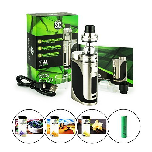SC/Eleaf iStick Pico 25 + Ello Verdampfer (4 ml) + 2500 mAh Akku + 3 x 10 ml SC-Liquid (nikotinfrei) E-Zigarette/E-Shisha (edelstahl-schwarz)