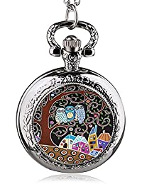ShopyStore 40 Fashion Silver Stainless Steel Tree Of Life Chain Luminous Pocket Watch Necklace WOM
