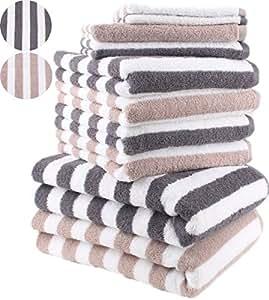 10 tlg. Handtuch Set STREIFEN Farbe Anthrazit Grau & Beige 100% Baumwolle 2 Duschtücher 4 Handtücher 2 Gästetücher 2 Waschhandschuhe
