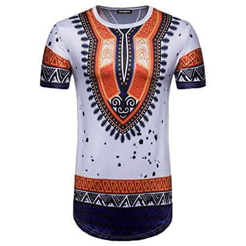 Auied Herren Sommer Casual African National Style Drucken O-Ausschnitt Kurzarm T-Shirt Top Bluse (Kostüme Nationalen Parfüm)