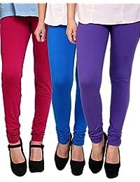 Anekaant Cotton Lycra Women's Legging Pack of 3 (Pink, Blue, Purple)