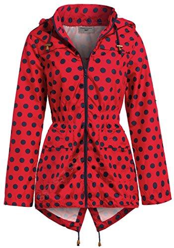SS7 Frauen Mit kapuze Shower Regenmantel, Rot, Größen eu 36-44 Rot Marineblau gepunktet