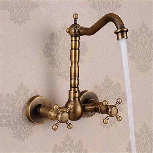 Wasserhahn Küche Bad Antique Brass In-Wand-Waschtisch-Mischbatterie Badewanne Wasserhahn Spüle Wasserhahn