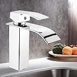 Hergon Küchenarmatur Badarmatur Waschtischarmatur,Einhand-Chrom poliert Messing Wasserhahn für Waschbecken Wasserfall Waschbecken Hahn