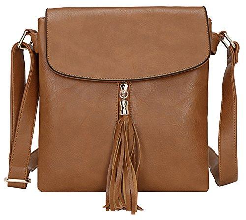 Big 4 Damen Schultertasche Messengertasche Tan mittelgroß Umhängetasche trendige Handbag Shop Design zqwxr7fz