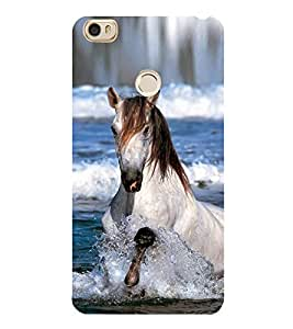 White Horse Running in water 3D Hard Polycarbonate Designer Back Case Cover for Xiaomi Mi Max
